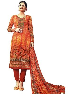 Flamingo Digital-Printed Trouser Salwar-Kameez Suit with Ari-Embroidery and Chiffon Dupatta