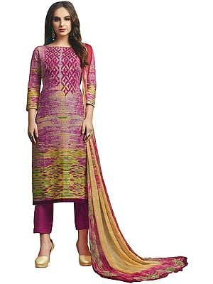Ibis-Rose Printed Trouser salwar-Kameez Suit with Ari-Embroidery and Chiffon Dupatta