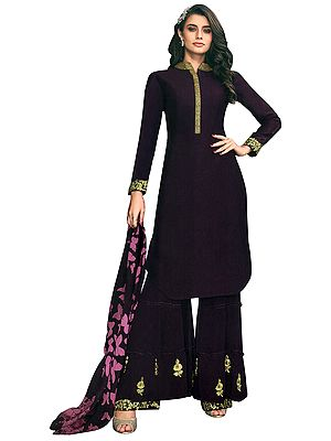 Italian-Plum Sharara Salwar-Kameez Suit with Zari-Embroidery and Chiffon Dupatta