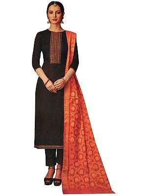 Chest-Nut Long Trouser Salwar-Kameez Suit with Embroidery on Neck and Banarasi Dupatta