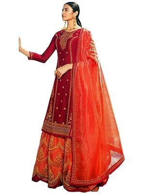 Barberry Zari-Embroidered Lehenga and Kameez Embellished with Crystals