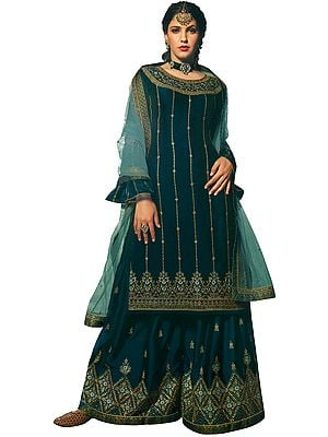 Deep Lake-Blue Flared Palazzo Salwar Kameez Suit with Heavy Embroidered Net Dupatta