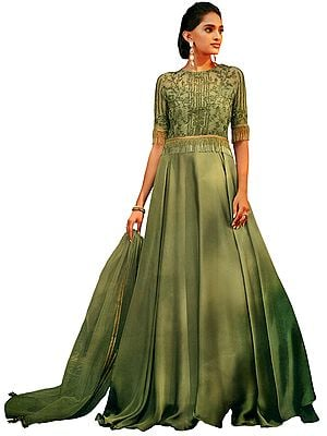 Olive Branch-Green Floor-Length A-Line Lehenga Suit with Zari-Embroidered Border and Hanging Long Glass Beads