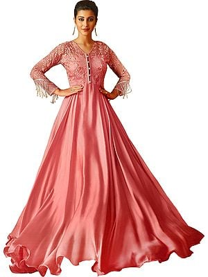 Pink-Lemonade Long Gown Suit with Embroidered Flowers,  Sequins and Beadwork