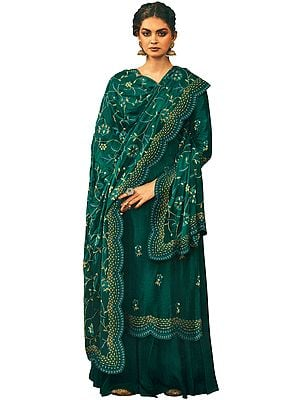 Long Zari Embroidered Kameez with Lehenga and Heavy Floral Zari  Embroidered Dupatta
