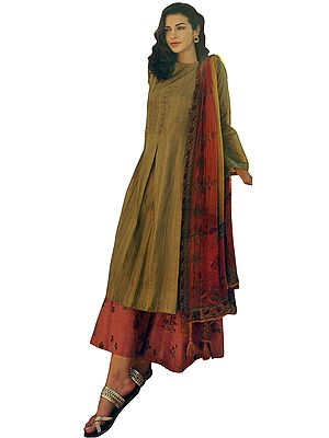 Mustard Gold Long Embroidered Kameez with Printed Lehenga and Floral Printed Dupatta