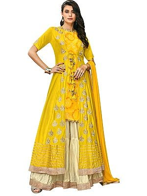 Sunstruck-Yellow Long Zari Embroidered and Printed Kameez with Embroidered Lehenga and Embroidered Dupatta