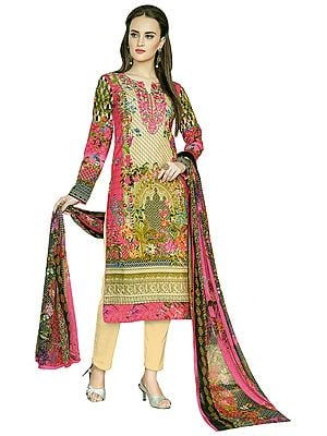 Raspberry-Pink Embroidered and Printed Kameez Suit with  Long Trouser and Floral Printed Dupatta