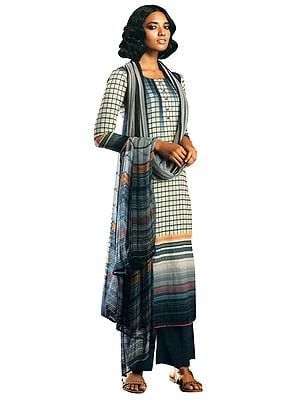 Indigo-Blue Palazzo Salwar- Geometric Prints Kameez Suit with Buttons and Printed Dupatta