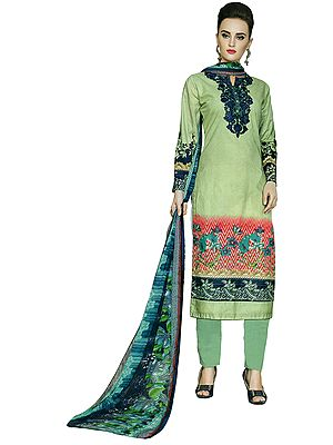 Pastel-Green Salwar Kameez Suit- Allover Printed Kameez with embroidery on neck and Floral Printed Dupatta