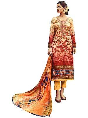 Sunburst-Orange Digital-Printed Trouser Salwar Kameez Suit with Ari-Embroidery Flowers on Neck and Printed Dupatta