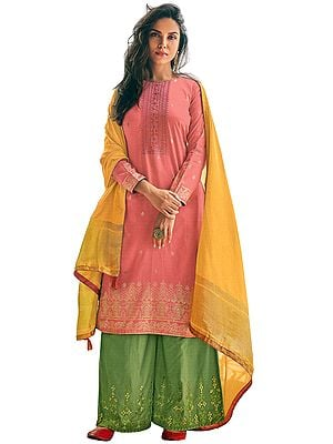 Strawberry Ice-Pink Palazzo Salwar Kameez Suit -Embroidered Kameez with Green Palazzo and Woven Dupatta