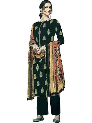 Caviar-Black Printed Kameez Suit with Palazzo Salwar and Woven Dupatta with Boat-Neck