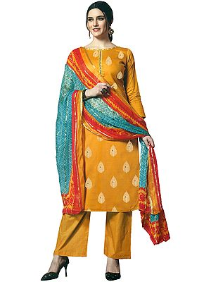 Artisan's-Gold Palazzo Salwar Suit with Printed Leaves