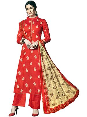 Flame-Scarlet Palazzo Salwar Suit with Standing-Collar and Golden Motifs