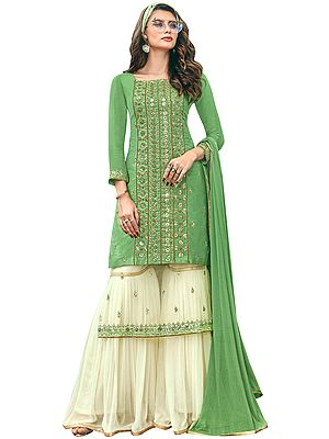 Zephyr-Green Flared Palazzo (Sharara) Salwar Kameez Suit with Heavy Zari and Beaded Embroidery