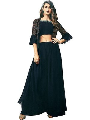 Midnight-Navy Flared Palazzo Salwar Suit with Embroidered Shrug, Short Kameez and Dupatta