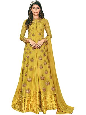 Symphonic-Sunset Flared Woven Gown with Heavy Zari Embroidered Kameez and Dupatta