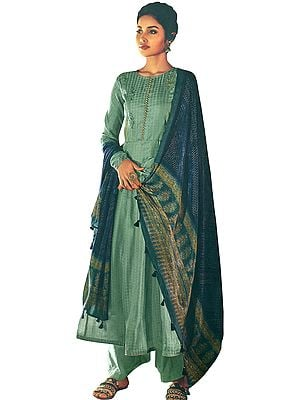 Hemlock-Green Palazzo Salwar Kameez Suit with Self Design Zari Embroidery and Printed Tasseled Dupatta