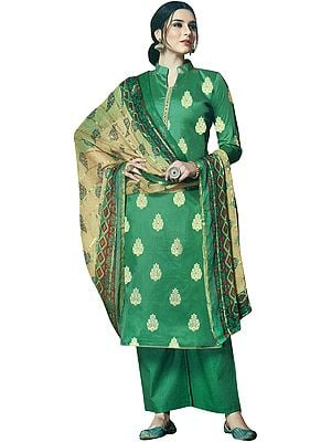 Pine-Green Palazzo Salwar Kameez Suit with Standing-Collar and Golden Motifs