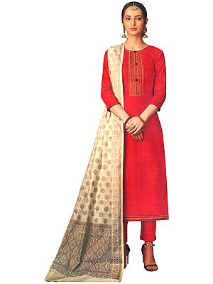 Flame-Scarlet Long Trouser Salwar-Kameez Suit with Embroidery on Neck and Beige Banarasi Dupatta