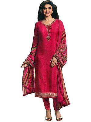 Raspberry-Pink Choodidaar Salwar Kameez Suit with Floral Zari-Embroidery