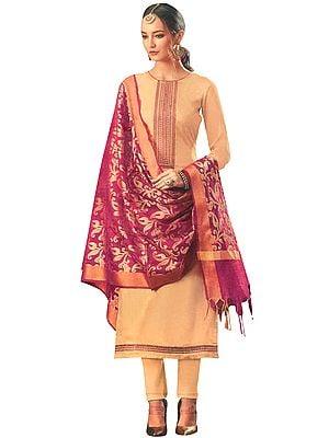 Beige Long Trouser Salwar-Kameez Suit with Embroidery on Neck and Pink Banarasi Dupatta