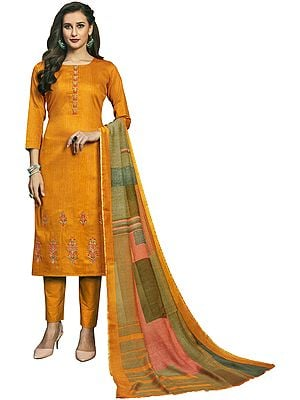 Sunflower-Yellow Long Trouser Salwar-Kameez Suit with Embroidery and Multicolor Printed Dupatta