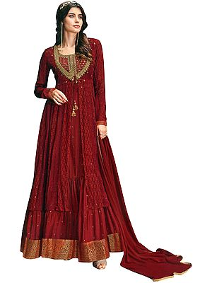 Haute-Red Flared Woven Gown with Zari Embroidered Kameez and Dupatta