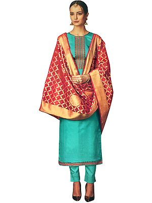 Lake-Blue Long Trouser Salwar-Kameez Suit with Embroidery on Neck and Banarasi Dupatta