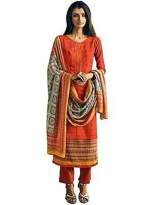 Fiesta-Red Long Trouser and Kameez Suit with Floral Embroidery and Printed Dupatta