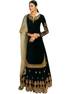 Caviar-Black Zari-Embroidered Lehenga and Kameez Embellished with Stones