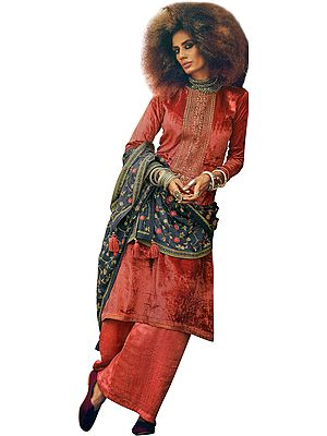 Cayenne-Red Long Palazzo Kameez Suit with Zari-Embroidery and Floral Dupatta