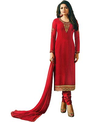 Samba-Red Salwar Kameez Suit with Self Design and  Zari Embroidery on Neck