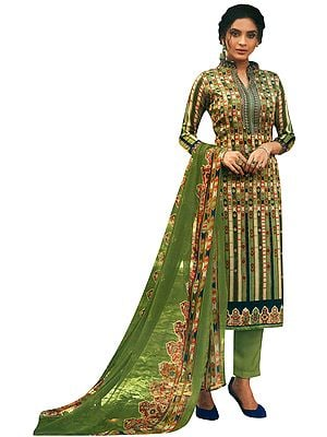 Sage-Green Salwar Kameez Suit with Long Trousers  and Printed Dupatta
