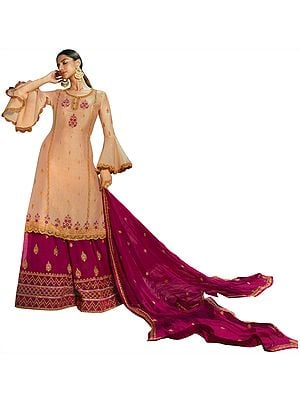 Rose-Dust Zari-Embroidered Sharara and Kameez Embellished with Stones and Flared Sleeves