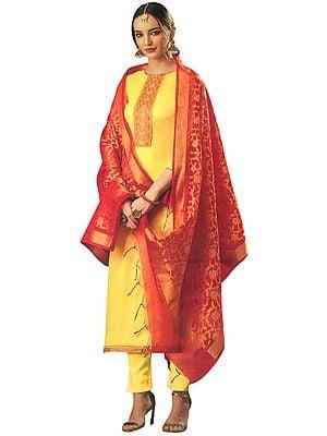 Dandelion-Yellow Salwar Kameez Suit- Kameez with Embroidery on Neck and Zari Woven Dupatta