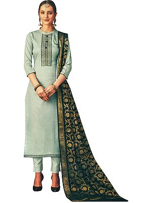 Mirage-Gray Salwar Kameez Suit- Kameez with Embroidery on Neck and Zari Woven Dupatta