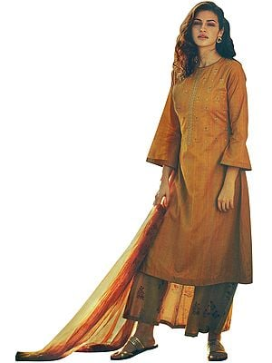 Golden-Yellow Long Embroidered Palazzo Kameez Suit with  Floral Printed Dupatta