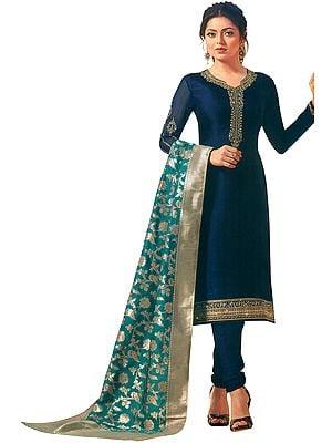 Oceana-Blue Choodidaar Salwar Kameez Suit with Zari-Embroidery with Banarasi Dupatta