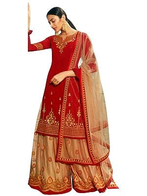 Ribbon-Red Zari-Embroidered Sharara Pants and Kameez Embellished with Crystals and Peach Net Duppatta