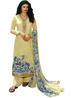 French-Vanilla Floral Printed Salwar-Kameez Suit with Embroidery on Neck and Chiffon Dupatta
