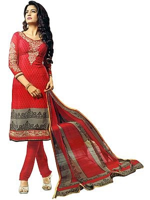 Urban-Red Printed Salwar-Kameez Suit with Zari Embroidery on Neck and Floral printed Dupatta