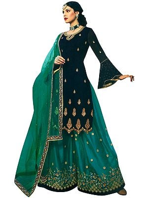 Green Zari-Embroidered Sharara Pants and Patriot-Blue Kameez Embellished with Crystals and Net Dupatta