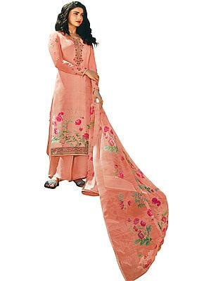Seashell-Pink Floral Printed Salwar-Kameez Suit with Embroidery on Neck and Chiffon Floral printed Dupatta
