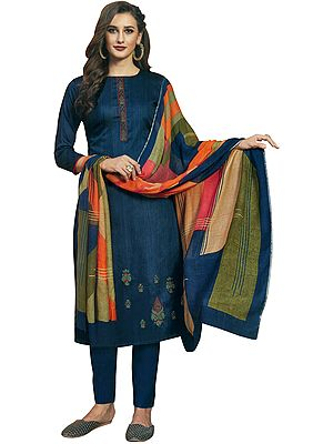 Insignia-Blue Long Trouser Salwar-Kameez Suit with Embroidery and Multicolor Printed Dupatta