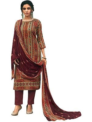 Garnet-Red Salwar Kameez Suit- All Over Printed Kameez with Long Trousers and Printed Dupatta