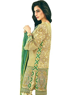 Nugget-Gold Salwar Kameez Suit- All Over Printed Kameez with Long Off-White Trousers and Printed Dupatta