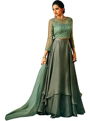 Steel-Gray Floor-Length A-Line Lehenga and Bristol-Blue Embroidered Choli with Beads and Stones