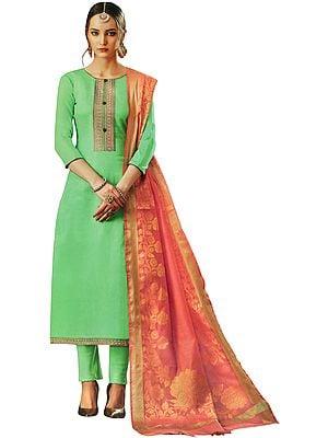 Spring-Green Salwar Kameez Suit with Embroidery on Neck and Pink Banarasi Woven Dupatta